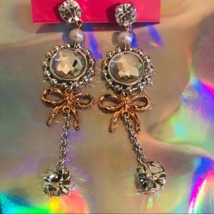 Crystal rhinestone long earrings Betsey Johnson